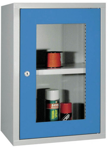 Werkstatt-Hängeschrank 400x300x600 mm BxTxH, aus Metall mit Sichtfenstertür, glatte Rückwand