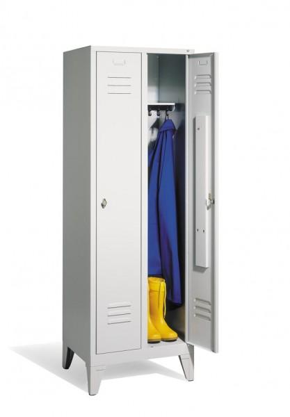 Garderoben-Stahlspind 2 Abteile mit Füßen, Breite 810 mm, Höhe 1850 mm, lichtgrau
