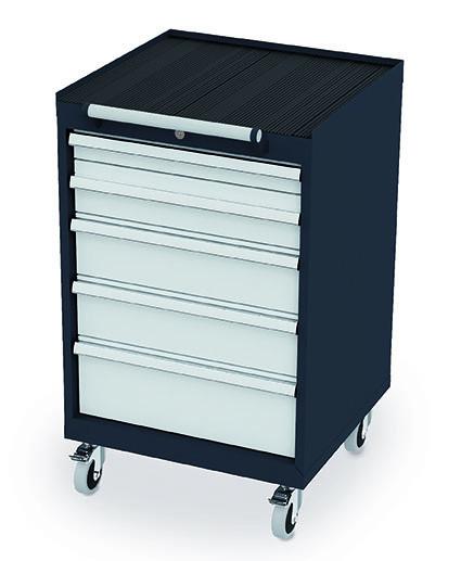 Schubladenschrank 600x575x970 mm, 5 Schubladen, anthrazit, fahrbar
