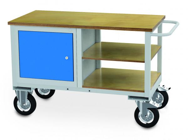 mobile Werkbank 1200x600x820 mm, 500 kg Tragkraft, 1 Flügeltür, 2 Holzfachböden, fahrbar