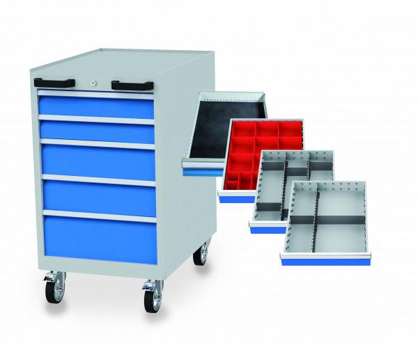 Schubladenschrank mit Einteilung, fahrbar 555x736x990 mm, 5 Schubladen