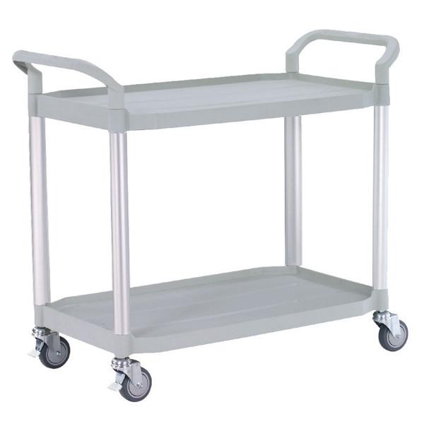 Tischwagen 1100x520 mm, 250 kg Tragkraft, Etagen + Schiebebügel Kunststoff lichtgrau, Aluminium