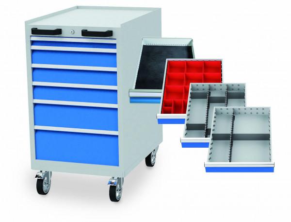 Schubladenschrank mit Einteilung 555x736x990 mm, 6 Schubladen, 500 kg Tragkraft, fahrbar