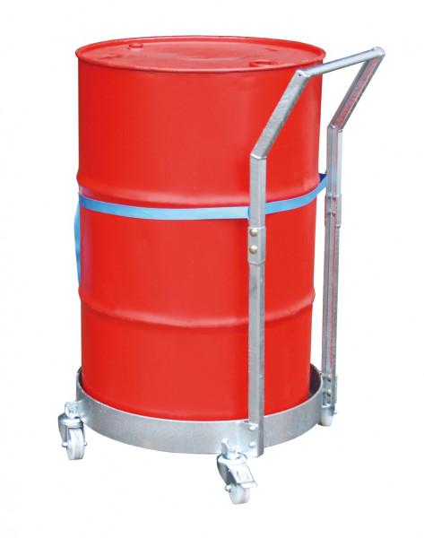 Fassrollwagen 300 kg Tragkraft für Fässer bis Ø 600 mm mit Schiebebügel und Wanne