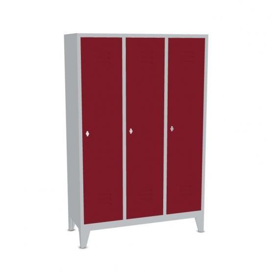 Garderoben-Stahlspinde 3 Abteile mit Füßen, Breite 1290 mm, Höhe 1850 mm, rubinrot