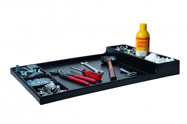 Kunststoffablage für mobile Schubladenschränke 600 mm breit, 7 Fächer mit dosenhalter600x575x62-27