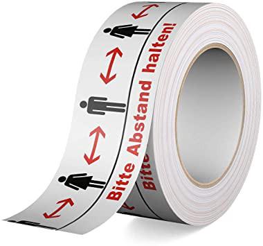 Warnband BITTE ABSTAND HALTEN, Breite/Länge 50 mm/60 m, selbstklebend, Abgabe = VE je 5 Rollen