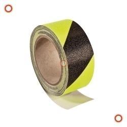 Antirutschbelag schwarz/gelb, nachleuchtend, selbstklebend, Breite 50 mm, Rolle 6 m