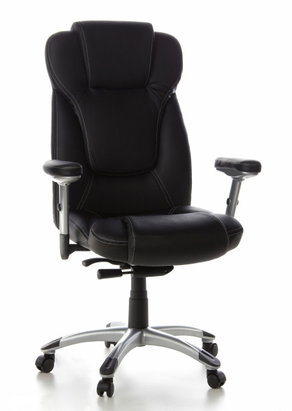 Bürostuhl / Chefsessel, 46-57 cm Sitzhöhe mit hoher Lehne + Armlehnen, Kunstlederbezug