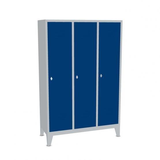 Garderoben-Stahlspind 3 Abteile mit Füßen, Breite 990 mm, Höhe 1850 mm, enzianblau