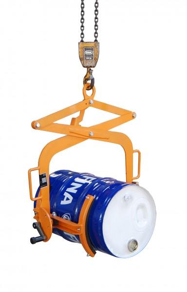 Fasswendezange für vertikales Heben, 60 Liter Stahl-Spundfässer, 100 kg Tragkraft, Gelborange