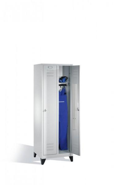 Komfort-Garderobenschrank mit Füßen für Werkstatt und Sozialraum, 2 Abteile, 1800x610 mm, lichtgrau