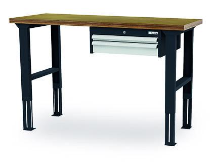Arbeitstisch 1500x600x760-1060 mm, 2 Schubladen, höhenverstellbar, 200 kg Tragkraft