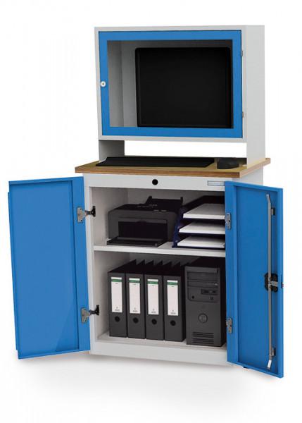 Computerschrank mit Arbeitsplatte und Monitoraufsatzgehäuse , 750x500x1450 mm