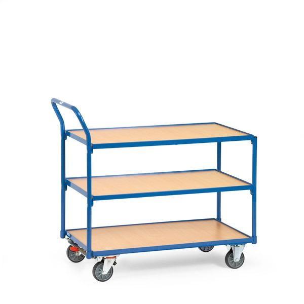 Tischwagen 850x500 mm, 300 kg Tragkraft, 3 Etagen, Holzplattformen