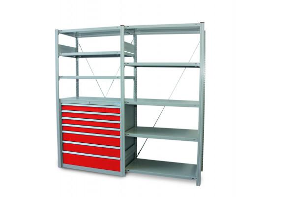 Schubladenschrank-Fachbodenregal 2000x1000 mm, mit Grund- und Anbauregal verzinkt, 7 Schubladen