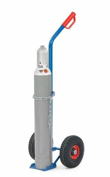 Stahlflaschenkarren Luftreifen, 100 kg Tragkraft, 1x10 Liter, mit Kettensicherung