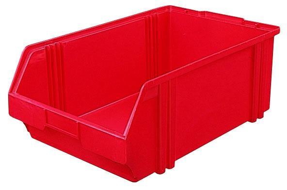Sichtlagerkästen LK 1 rot 500x300x180 mm, aus Polystyrol (PS), stapelbar, VE = 10 Stück