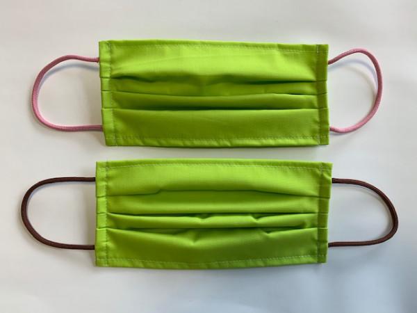 2 Stück Mund - Nasenmasken - grün, 65 PE/ 35 CO, 2-lagig, elastische Ohrbänder