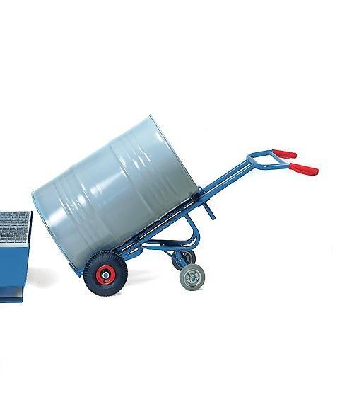 Fasskarren 2-fach Stützlenkrolle für 200-Liter Fässer mit Rand, 300 kg Tragkraft, Vollgummi-Bereifun