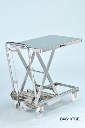 Edelstahl - Hubtisch BISHAMON 100 kg Tragkraft, 700x450 mm Ladefläche