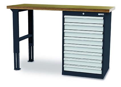 Werkbank 1500x600x860 mm, 7 Schubladen Breite 600 mm, höhenverstellbar, 1000 kg Tragkraft