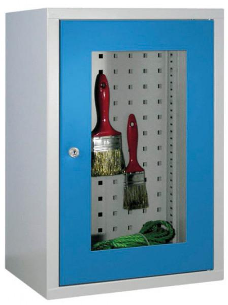 Werkstatt-Hängeschrank 400x300x600 mm BxTxH, aus Metall mit Sichtfenstertür, Lochblech-Rückwand