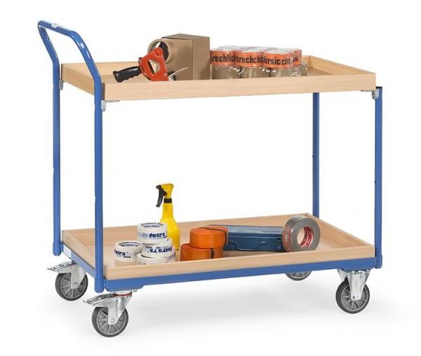 Leichter Tisch- und Werkstattwagen, 1000x600 mm, 300 kg Tragkraft, , 2 Abrollkannten