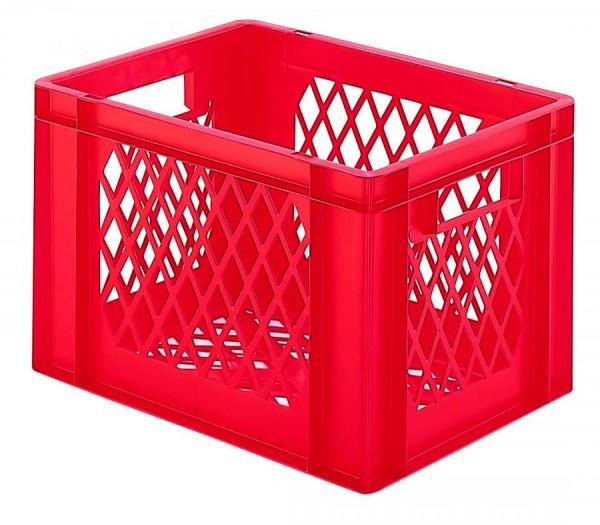 Stapelkästen Höhe 270 mm rot, TK 400, Wände und Boden durchbrochen, 4 Stück