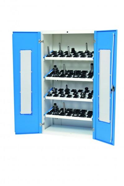 CNC Werkzeugschrank 980x500x1838 mm, mit Fenster, inkl. 4 Werkzeugaufnahmerahmen, CNC-Einsätze