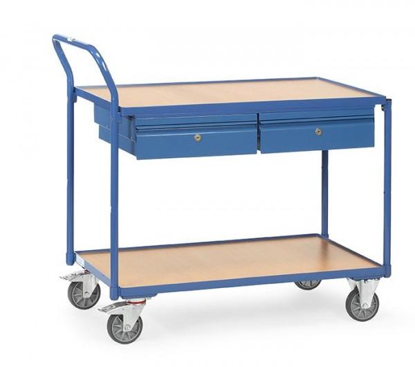 Tischwagen 1000x600 mm mit Schubladen, 300 kg Tragkraft, Holzplattformen, abschließbar
