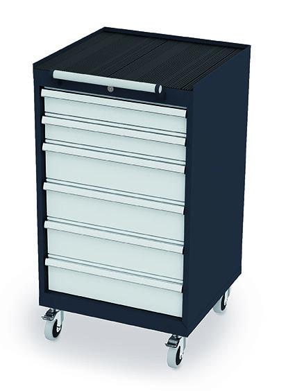 Schubladenschrank 600x575x1070 mm, 6 Schubladen, anthrazit, fahrbar