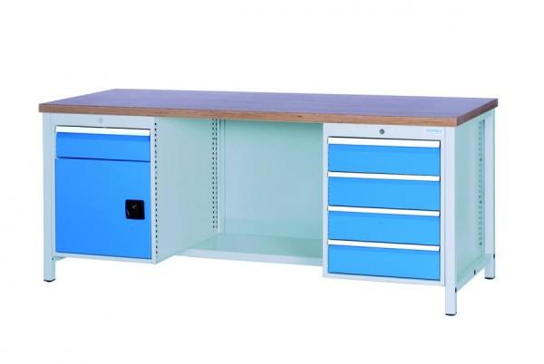 Werkbank 2000x750x959 mm, 1 Stahlfach + 1 Schrank, 5 Schubladen, 1000 kg Tragkraft, höher
