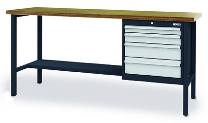Kastenwerkbank 2000x600x960 mm,4 Schubladen, 1 Ablage, 800 kg Tragkraft, anthrazit