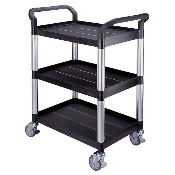 Tischwagen 850x480 mm, 250 kg Tragkraft, 3 Etagen + Schiebebügel aus Kunststoff schwarz, Aluminium