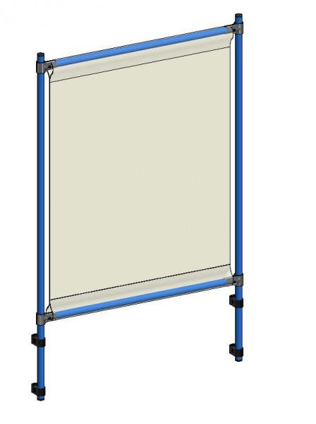Infektionsschutzrahmen 910x49x1410 mm, Anbausatzm PVC Klarsichtfolie glasklar