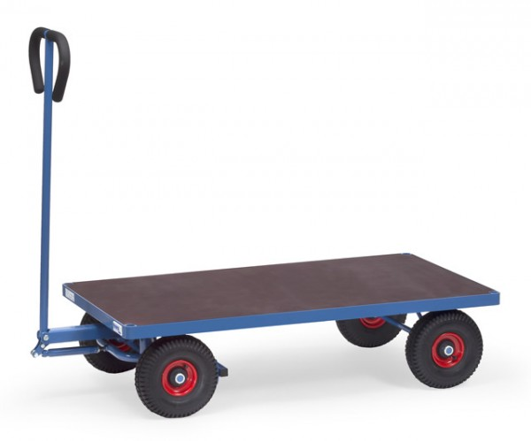 Handwagen 1260x700 mm, 500 kg Tragkraft, Luft-Bereifung, wasserfeste Ladefläche