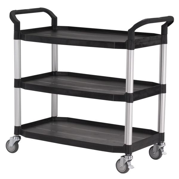 Tischwagen 1100x520 mm, 240 kg Tragkraft, 3 Etagen + Schiebebügel Kunststoff schwarz, Aluminium
