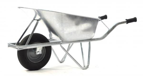 Baustellen-Schubkarre, verzinkt, Tragkraft 200 kg, 80 Liter Volumen, Luftreifen