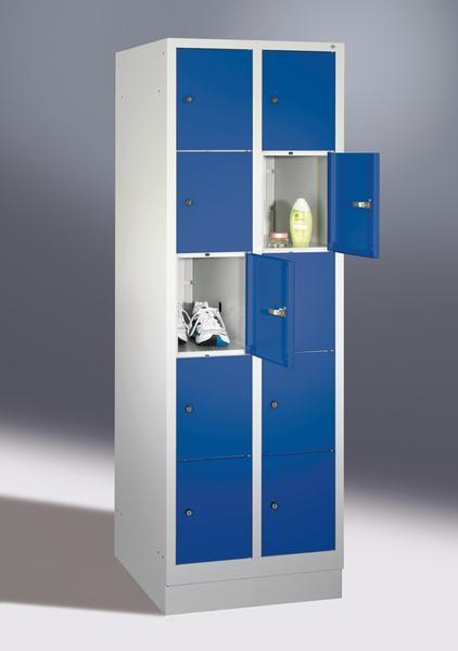 Fächerschränke mit Sockel, Breite 610 mm, 10 Schließfächer übereinander je 300 mm breit, 3 Farben