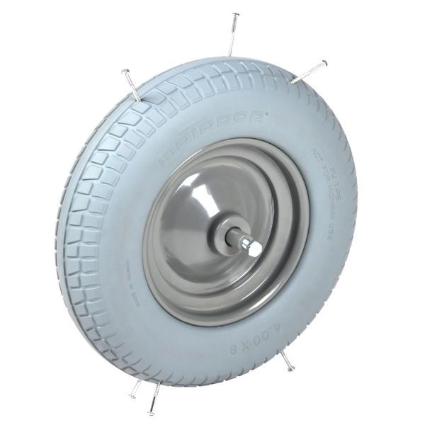 Pannensicheres Rad für Schubkarren, Achslänge 15 cm, 150 kg Tragkraft