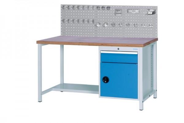 Werkbank mit Lochplatte, 2000x750x959 mm, 1000 kg Tragkraft, 1 Schublade, 1 Schrank
