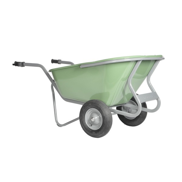 Stall- und Hofkarre, 230 Liter, 250 kg Tragkraft, 2 Luftreifen, Kunststoffmulde HDPE grün Bestseller
