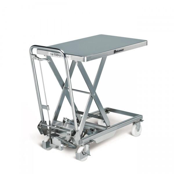 Edelstahl-Hubtisch BISHAMON 100 kg Tragkraft, 700x450 mm Ladefläche, Hubhöhe 750 mm