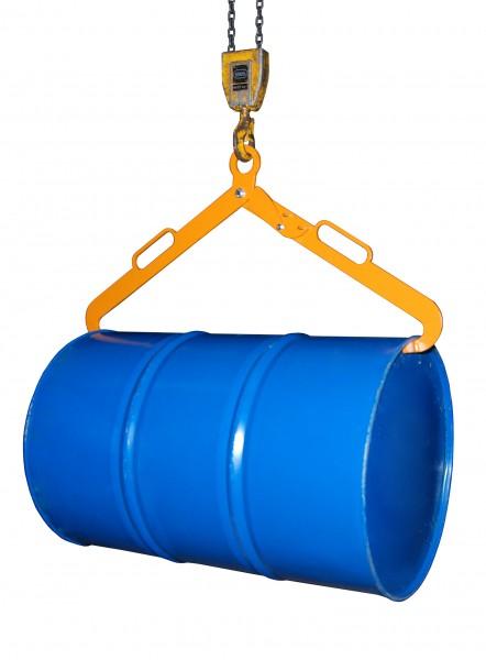 Scherengreifer für liegende 200 Liter Stahl-Spundfässer, 360 kg Tragkraft, Gelborange