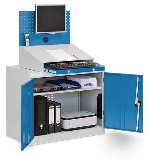 PC + Computerschrank mit Arbeitsplatte, Monitorwand, Tastaturfach, 1000x500x1610 mm