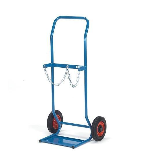 Stahlflaschenkarren Vollgummi, 50 kg Tragkraft, 2x10 Liter, Ø 140 mm
