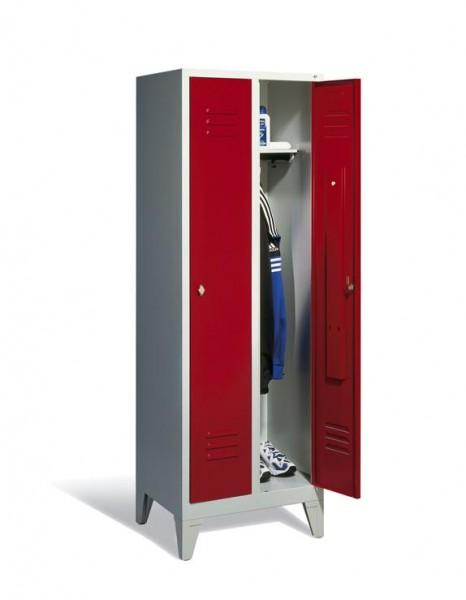 Garderoben-Stahlspind 2 Abteile mit Füßen, Breite 610 mm, Höhe 1850 mm, rubinrot