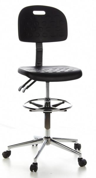 Arbeitsdrehstuhl, Sitzhöhe 61-86 cm, Fußring, fahrbar, Lehne verstellbar
