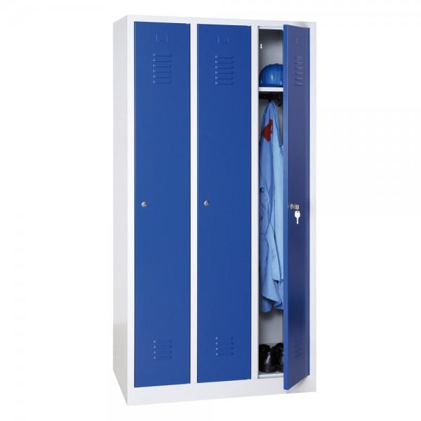 Garderoben-Stahlspinde, 3 Türen mit Sockel, 1200x500x1800 mm, RAL7035/5010